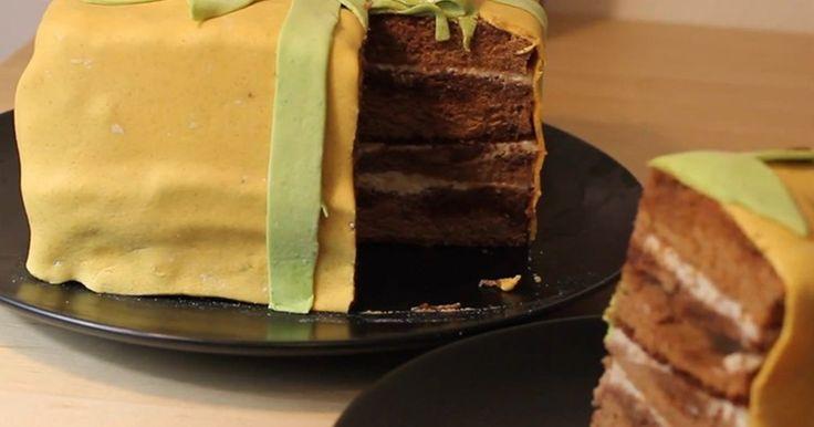 Торт Подарок шоколадный бисквит из мастики