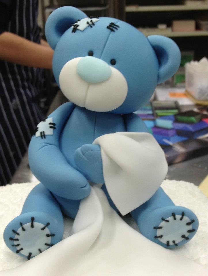 Blue teddy porcelana fria polymer clay fimo modelado figurine topper pasta francesa masa flexible fondant