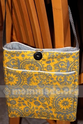 Yellow & gray cross-body tote bag with exterior pockets and button loop closure: Cute Purses, Purses Obsession