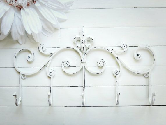 Fleur De Lis Decor / Metal Wall Hanger / Wall Hook / White Home Decor / Towel Rack / Coat Hook / Shabby Chic / French Country
