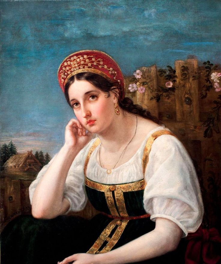 """A Girl in a Russian Costume"" by E. Lazarev (uncertain), 1853."