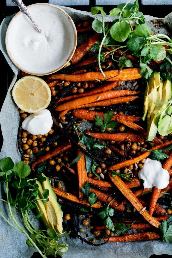 Roast Carrot, Chickpea & Avocado Salad with Cumin Honey Yogurt | The Brick Kitchen