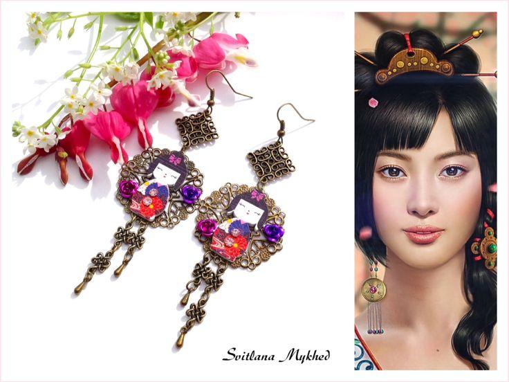 """Longues Boucles d'oreilles """"Kokeshi. Poupée Japonaise"""". : Boucles d'oreille par perles-et-couronnes"""