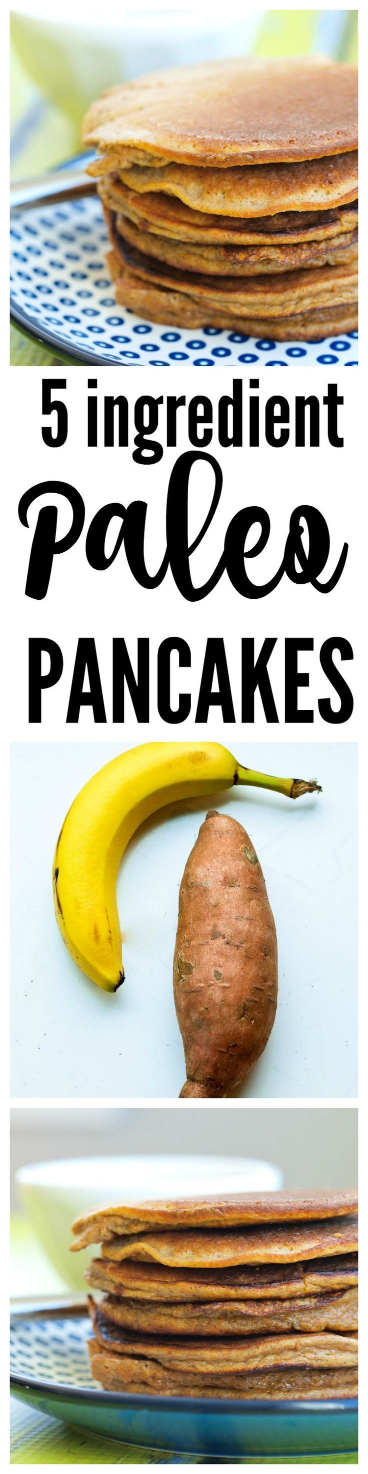 Paleo pancakes sweet potato and banana pancakes made with no flour and no sugar! A great healthy gluten-free breakfast idea.