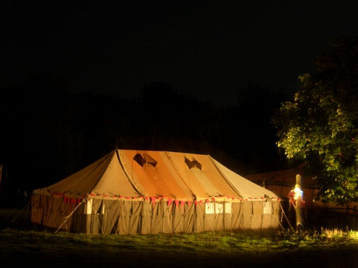 One of our LPM Bohemia Vintage Military Tents by night.