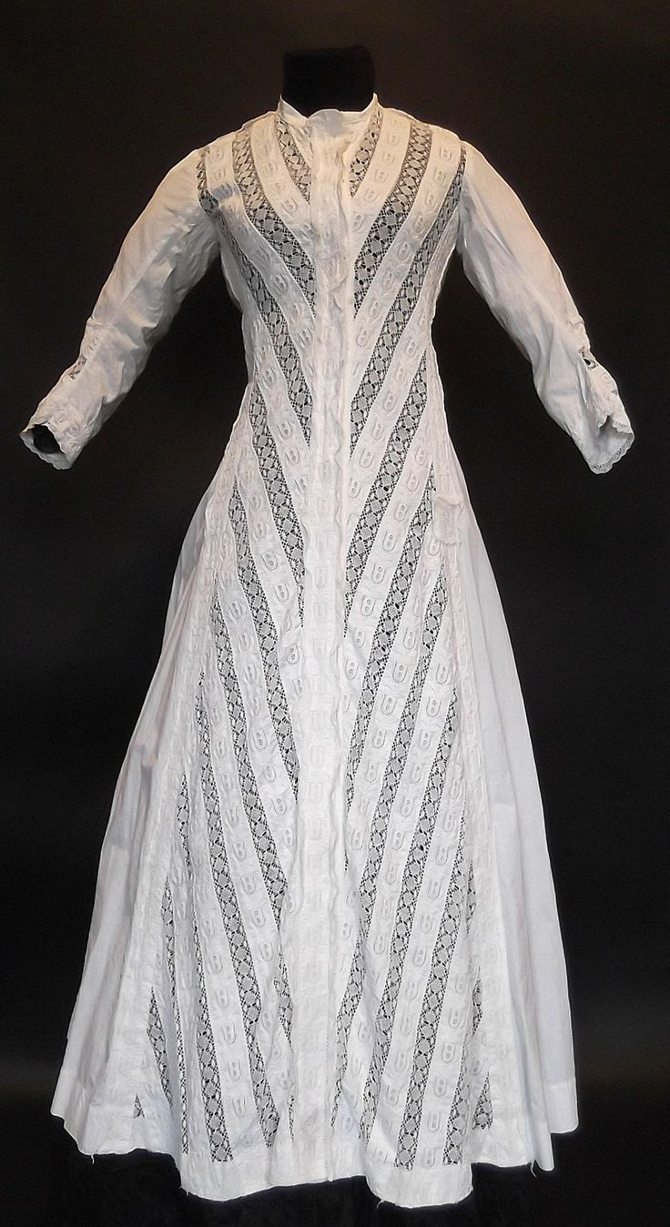 1870's Morning Dress, cotton and lace.