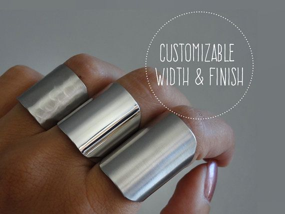 silver tube ring / statement ring / cuff rings / wide band ring / adjustable armor ring / customizable width / choose your finish on Etsy, $18.00
