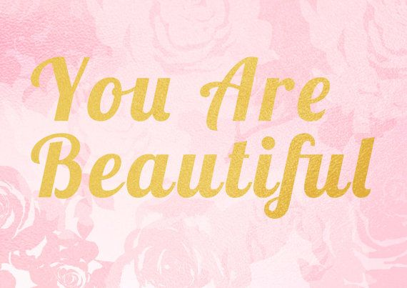 You are Beautiful, inspirational quote, printable wall art, instant download file can be purchased through my online etsy store for $3.50 (A3 size)