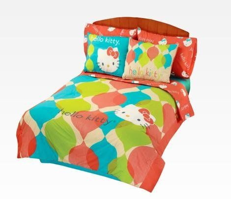Colorful Reversible 8 Pc Hello Kitty Full Comforter Set by Kitty. $169.99. Hello Kitty. sanrio Hello Kitty. Childrens Bedding. Kids bedding. Bed in a bag. Add a bright and playful touch to your room decor with these delightful Hello Kitty bedding sets. Sets come in happy coordinating colors featuring fun Hello Kitty faces all over.  - 1 Decorative Bed Skirt  - 1 Fitted sheet  - 1 Flat sheet  - 2 Pillowcases  - 1 Reversible Comforter  - 2 Pillow shams