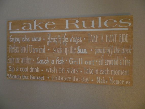 lake rules wooden sign   Large wood lake rules sign,36X48 You choose wording and colors, lake ...