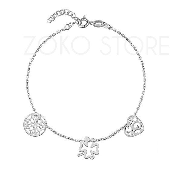 Srebrna bransoletka celebrytka z koniczynką, sercem i kółkiem <3 #celebrytka #bransoletka