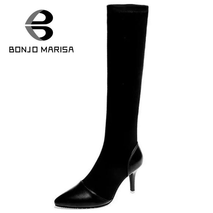 21.58$  Buy here - http://alinuk.shopchina.info/go.php?t=32694082890 - BONJOMARISA Stylish Pointed Toe High Thin Heels Slip On Thick Platform Patchwork Women Mid Calf Boots Lady Black Dress Shoes  #bestbuy