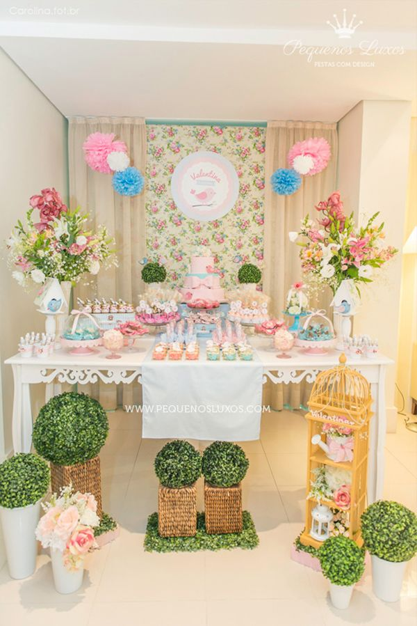 Little Birds Pink and Blue Party via Kara's Party Ideas | Kara'sPartyIdeas.com : dessert table