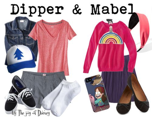 Outfits inspired by Dipper and Mabel from Gravity Falls!