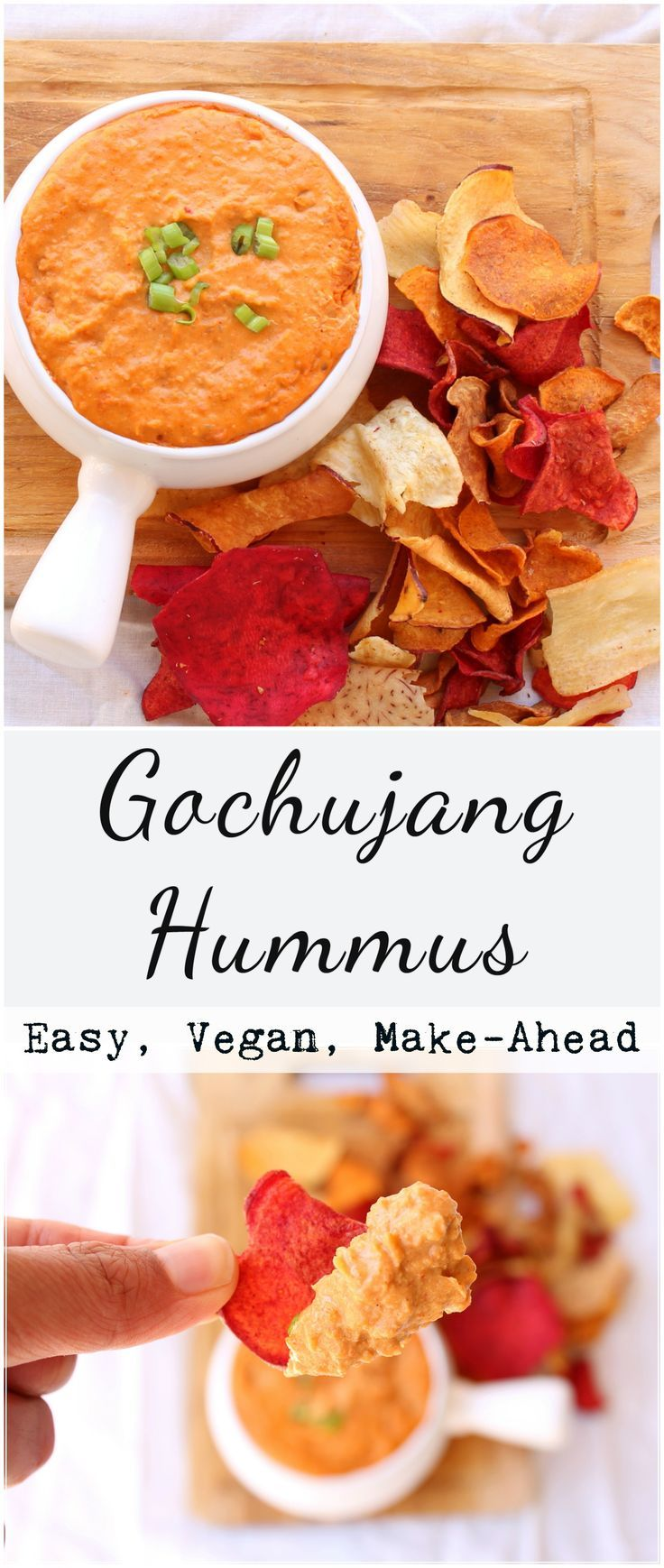 Take your regular hummus to the next level by adding Gochujang, a Korean fermented soy bean red chili paste. Naturally vegan, easy, and great for entertaining/snacking!
