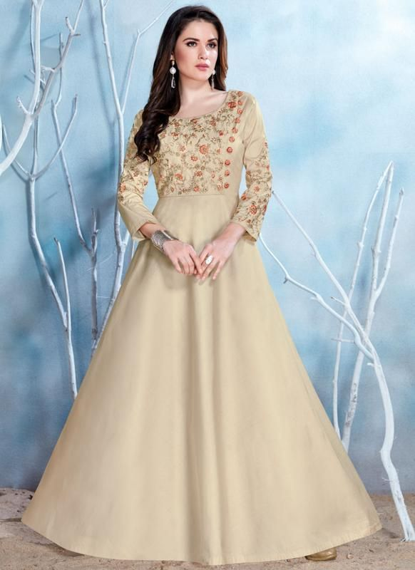 0a4664752d Lovely Cream Satin Designer Party Wear Gown -- miraamall