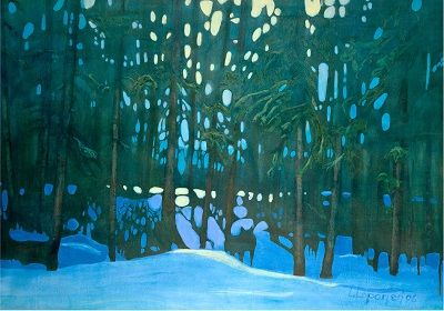 'Twas crisp Christmas Eve, a cold thirty Celsius below, ears alerted for skidoo sounds.  The night light deepened,  vast forest hushed, snow iridescent in the full moonlight.