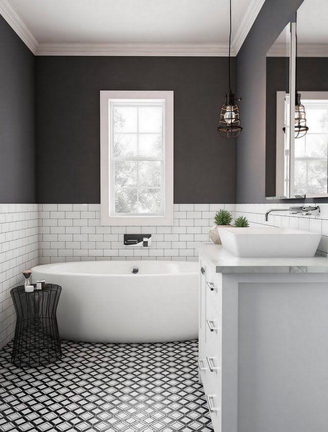 Modern Dark Bathroom With Tile Wainscoting Small Bathroom
