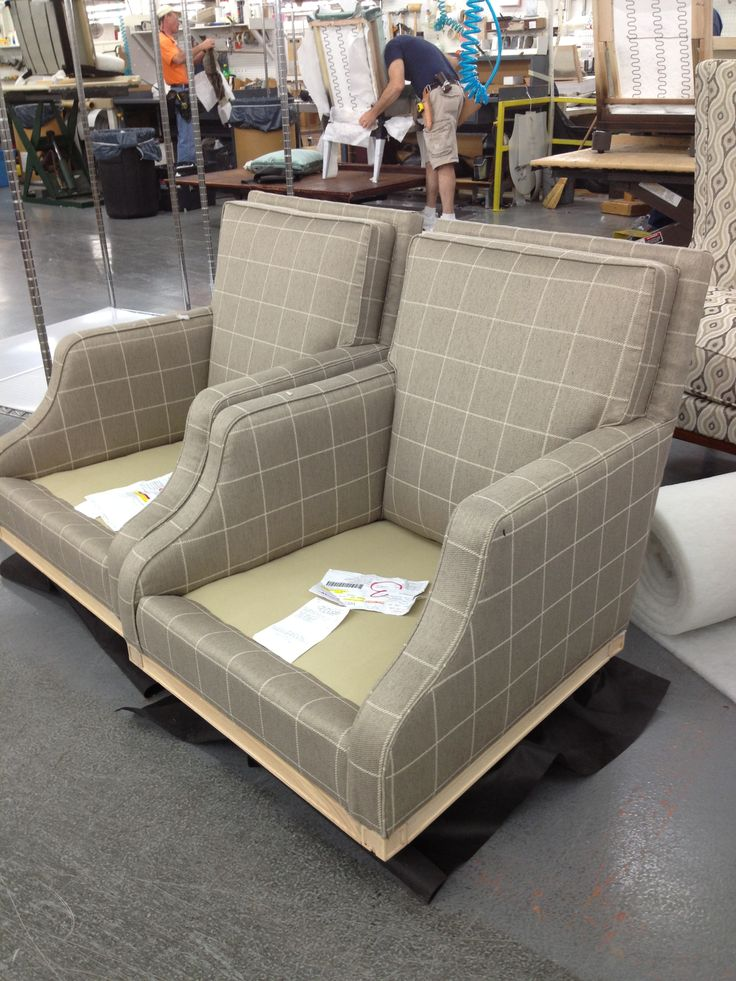 A Pair Of Monroe Chairs From Suzanne Kasler Being Made In A Dove Vacona  Leather From