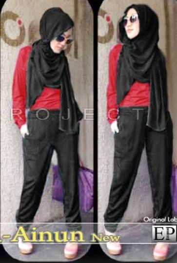 Red Ainun Set (Celana Katun Strit Hitam + Atasan Tangan Panjang Merah + Pashmina) Spandex Korea Fit XL Harga : Rp. 155.000,-/set Kode Produk / Product Code : C2516