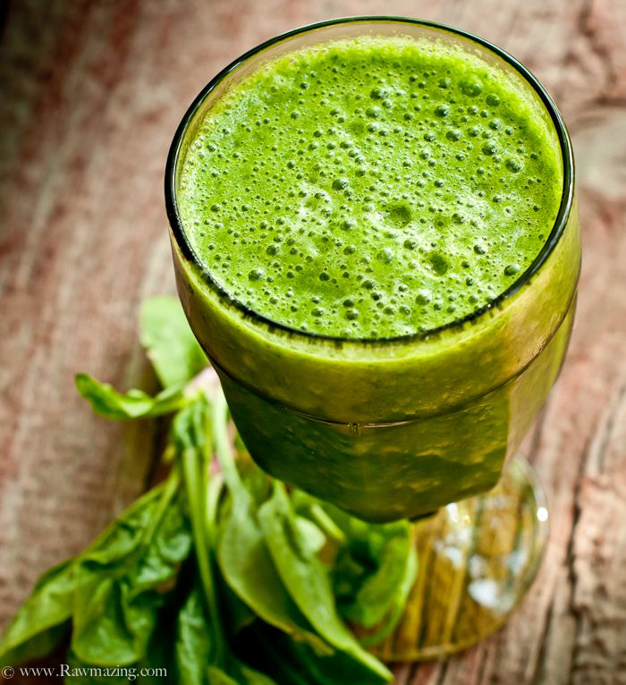 1 cup frozen banana*, 1 cup frozen pineapple*, 2 cups spinach, 1 cup water. Put in a blender with some ice.