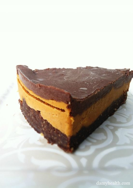 "Vegan Peanut Butter Cup ""Cheesecake"".  Great dessert for entertaining.  This recipe is raw (no bake), vegan, gluten free, easy and peanut butter chocolate heaven!"