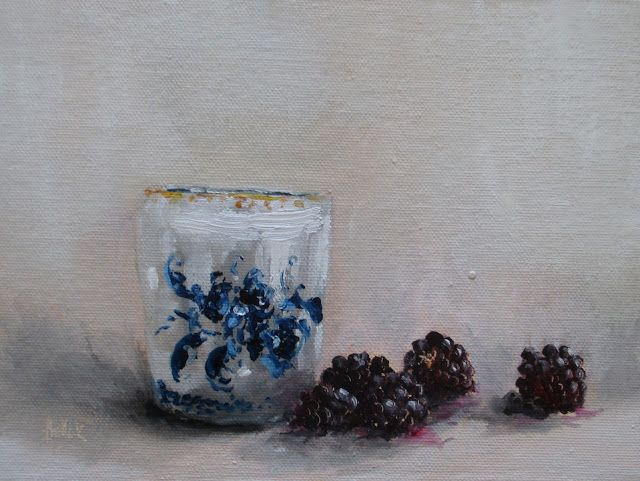 Daily painting 753 Blue with blackberries