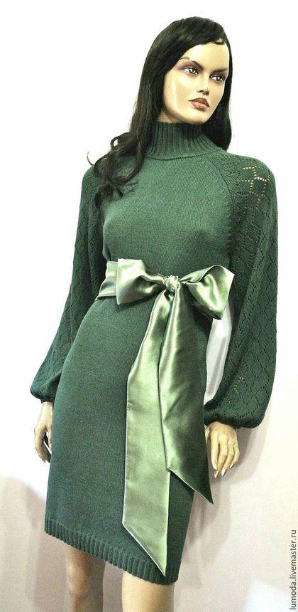 Платья ручной работы. Ярмарка Мастеров - ручная работа. Купить Платье вязаное. Handmade. Морская волна, зеленый цвет, платье