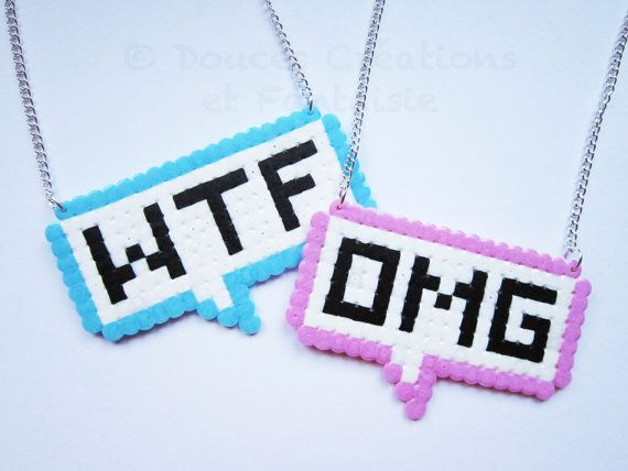 Shifted Necklace OMG and WTF hama beads kawaii by DoucesCreations