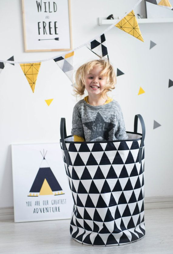 Large Black and White Triangle Nursery Fabric Basket by ITSFORKIDS
