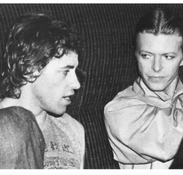Bob Geldof and David Bowie, live Aide concert
