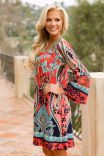 Cutie From The Coast Dress - Coral/Jade