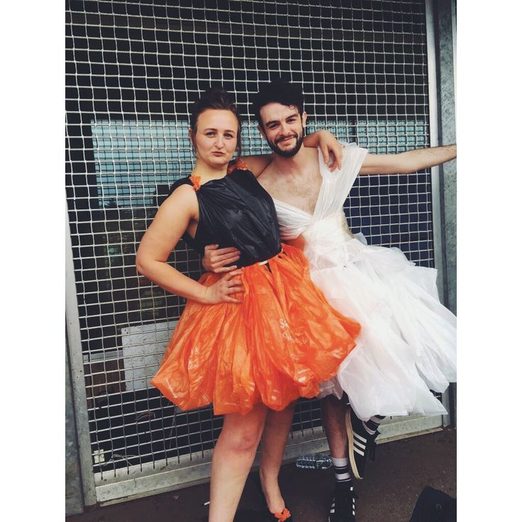 Our Anything But Clothes theme costumes! Cute tutu style skirts made from Sainsbury's Carrier Bags.  #fancydress #anythingbutclothes #abcparty #binbagfashion #carrierbags #easy #nosew