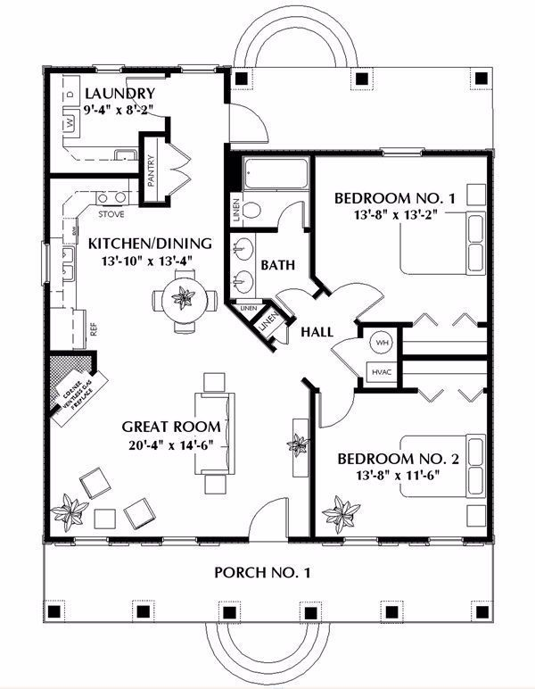 Nice Small 2 Bedroom Cabin Plan Add A Small Garage And This Is The Perfect House Guest House Plans Cabin Floor Plans House Plans One Story