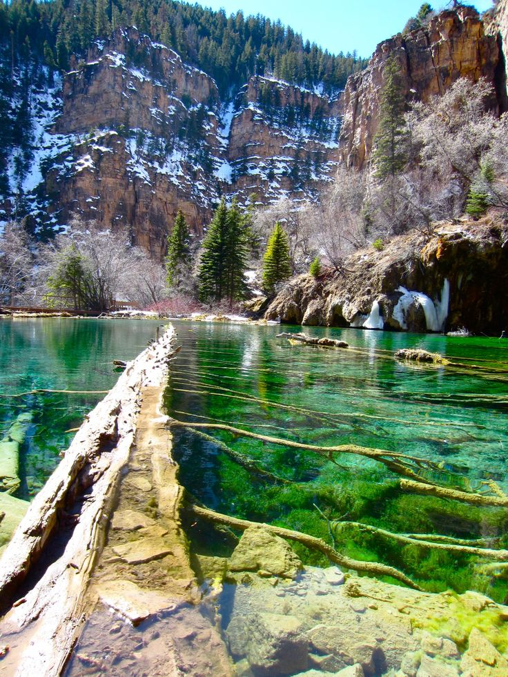 Hanging Lake Trail This lake is perched two thirds of the way up a canyon. A strenuous hike worth it