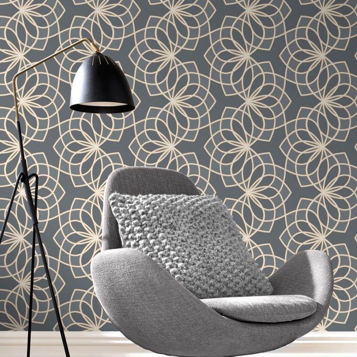Rasch Spiro Geometric Dark Grey Glitter Wallpaper - 304022