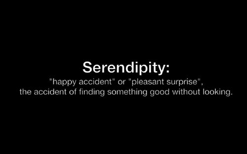 such a cool word!  Ex. of serendipity:  finding cash in your winter coat after it's been put away for summer...NICE!!