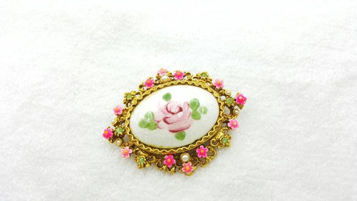 Art Signed Hot Pink Guilloche Flower Brooch Victorian Delicate #jewellery #couponsale25