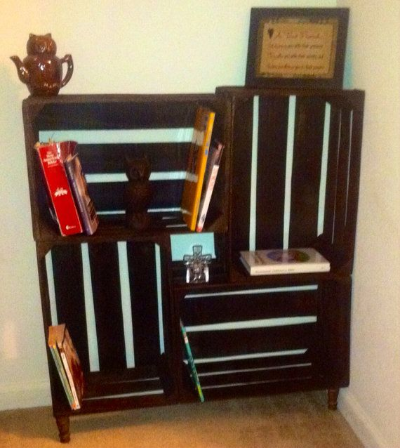 Three Slat Produce Crate Book Shelf by CarriesRusticRubbish, $95.00