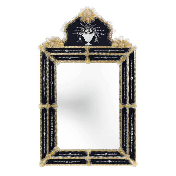 08006 Two-tones Venetian style mirror with engravings and #Murano glass decorations in crystal gold colour. Structure in natural wood.
