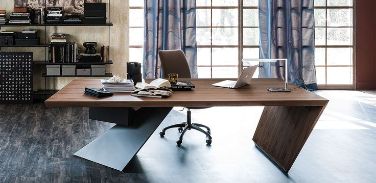 Desk With Drawers In Canaletto Walnut NC Or Heritage Oak HR Leg Graphite Embossed Lacquered Steel On Version The Drawer Can Be Fixed