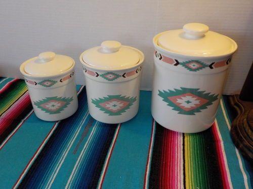 3 Southwestern Aztec Native Kitchen Canister Set Pottery Ceramic Western Decor Ebay