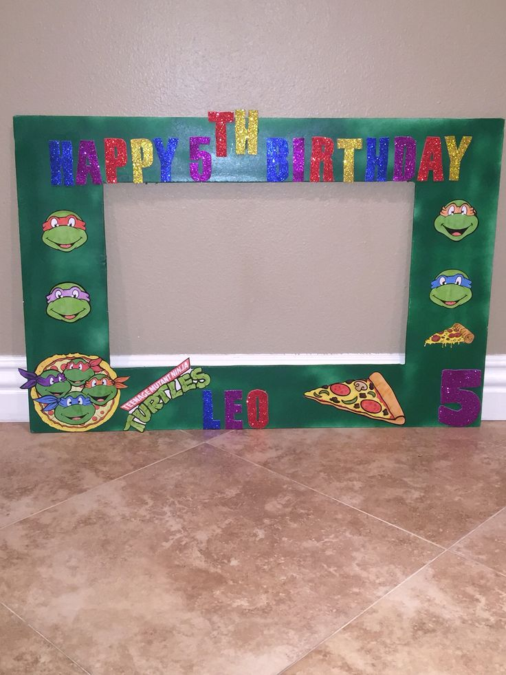 Ninja Turtle birthday photo frame ***** email me for prices and sizes at natashathecreator@gmail.com ****
