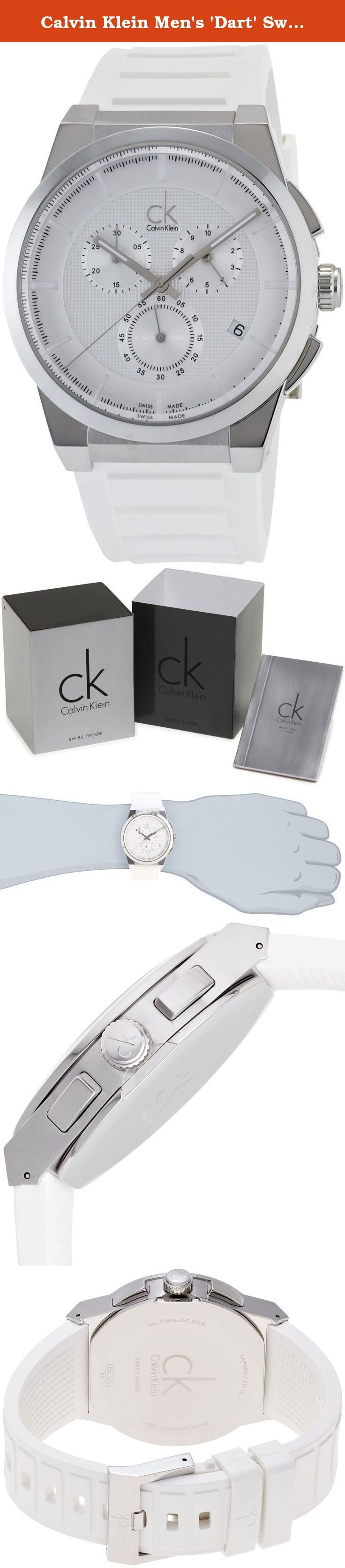 Calvin Klein Men's 'Dart' Swiss Quartz Stainless Steel and Rubber Casual Watch, Color:White (Model: K2S371L6). Stainless steel case. Rubber strap. Silver dial. Swiss quartz movement. Mineral crystal. Case 45mm. Water resistant 100 meters.