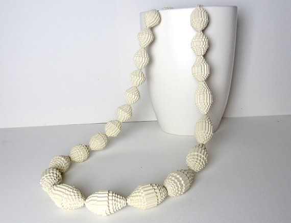 Vanilla Statement Necklace with Beads of by PaperStatement on Etsy, $37.00