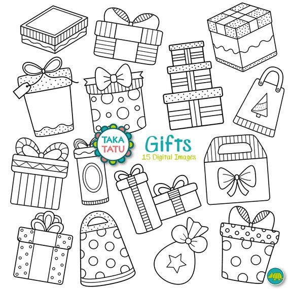 Gifts Digital Stamp Pack Gift Clipart Gift Box Clipart Etsy Digital Stamps Art Christmas Presents Clip Art