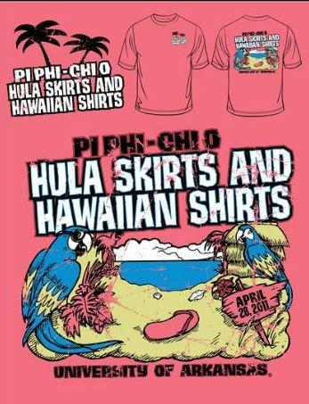 Pi Phi Hula skirts and Hawaiian shirts #piphi #pibetaphi