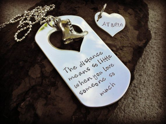 Deployment Necklace - Military Sepration - Hand Stamped Necklace - Deployment Jewelry - Military Deployment - Navy - Air Force - USMC - Army on Etsy, $30.00