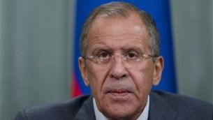 Russian Foreign Minister Sergey Lavrov speaks during a news conference after his meeting with French counterpart Laurent Fabius, unseen, in ...