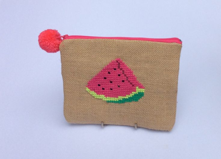 Watermelon wedge, Burlap pouch bag, cross stitch embroidery ,accessories pouch, handmade pouch, travel accessory by Apopsis on Etsy